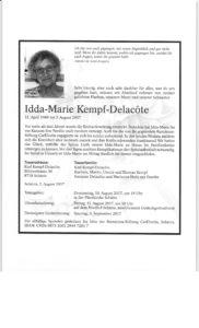 Todesanzeige Idda-Marie 03 08 17